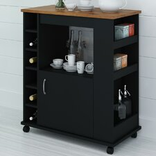 Kitchen Cart with Wood Top in Black