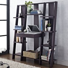 "59.5"" Ladder Bookcase with Desk"