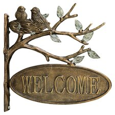 Lovebirds Welcome Garden Decor