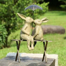 Bunny Lovers on Bench Statue