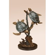 Sea Turtle Duet with Seagrass Figurine