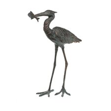 Garden Single Crane Eating Fish Statue
