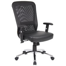 High-Back Leather Office Chair with Arms