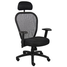 High-Back Professional Conference Mesh Chair with Headrest and Arms