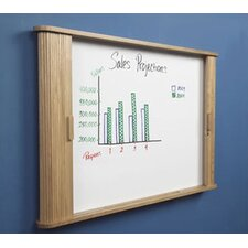 Tambour Door Enclosed Cabinet Magnetic Whiteboard, 3' x 4'