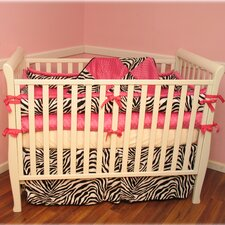 Hot Pink Zebra 4 Piece Crib Bedding Set