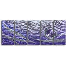 'Violet Vortex' 5 Piece Original Painting Plaque Set