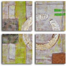 'Embossed Gold on Tiles' 4 Piece Original Painting on Wrapped Canvas Set