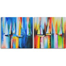 Time Lapse Sailboat Reflections 2 Piece Wrapped Canvas Art Set