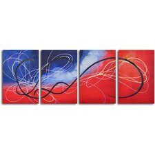 'Trail of the Hummingbird' 4 Piece Original Painting on Wrapped Canvas Set