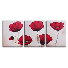 Still Life Poppies 3 Piece Painting Print on Canvas Set