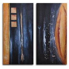 Donkey Tail Against Earth 2 Piece Painting Print on Wrapped Canvas Set