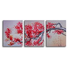 Pink Cherry, Vanilla Sky 3 Piece Painting Print on Canvas Set
