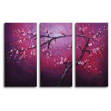 Pink on Crimson 3 Piece Painting Print on Canvas Set