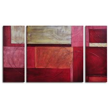 Gold on Red 3 Piece Original Painting on Wrapped Canvas Set