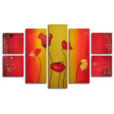 Red Poppies Float 7 Piece Original Painting on Wrapped Canvas Set