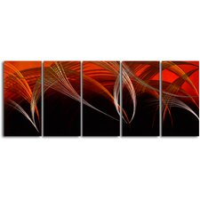 Gold and Silver Fireworks 5 Piece Original Painting Plaque Set