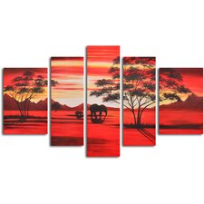 African Sunset 5 Piece Original Painting on Wrapped Canvas Set