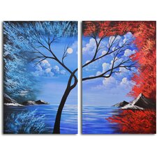 Blue Lagoon Diptych 2 Piece Original Painting on Wrapped Canvas Set