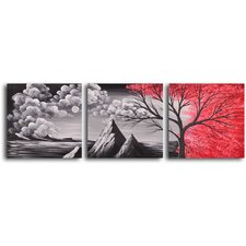 Bloody Rain 3 Piece Original Painting on Wrapped Canvas Set