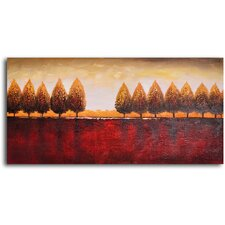 'Gold Trees Red Earth' Original Painting on Wrapped Canvas