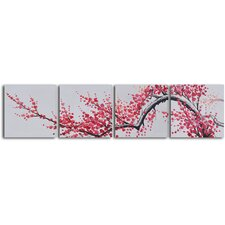 'Extension of Asian Branch' 4 Piece Original Painting on Wrapped Canvas Set