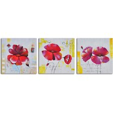 'Floral Notes' 3 Piece Original Painting on Wrapped Canvas Set