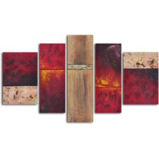 'Francophile Wall Panels' 5 Piece Original Painting on Wrapped Canvas Set