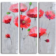 'Pirouetting Poppies in Space' 3 Piece Original Painting on Wrapped Canvas Set
