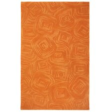 Paint The Town Bittersweet Swirling Orange Area Rug