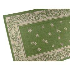 Paisley Floral Emerald Green Indoor/Outdoor Area Rug