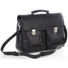 Single Compartment Leather Laptop Briefcase