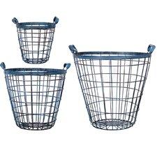 3 Piece Antique Metal Basket