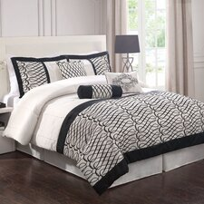 Flocked Bows Comforter Set with Bonus Pillows