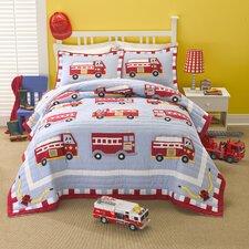 Cotton Fire Truck Quilt with Pillow Sham, Bed Skirt, and Pillow