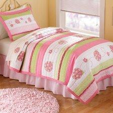 Crazy Pink Ladybug Quilt Set