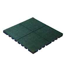 """PlayFall 2.50"""" x 24"""" Playground Safety Surfacing Terra Cotta Rubber Tile in Green"""