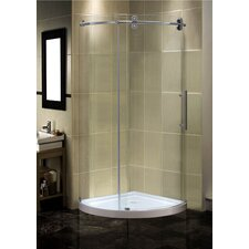 "36"" x 36"" x 77.5"" Completely Frameless Round Sliding Shower Door Enclosure with Low-Profile Base"