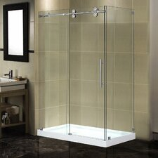 "48"" x 35"" x 77.5"" Completely Frameless Sliding Shower Door Enclosure with Low-Profile Base"