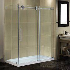 "60"" x 35"" x 77.5"" Completely Frameless Sliding Shower Door Enclosure with Low-Profile Base"