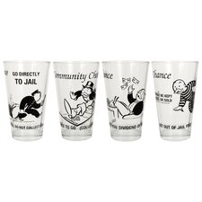 Hasbro Monopoly Cards 8 Piece Glass Tumblers Set