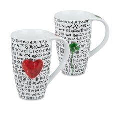 New Day New Luck and New Day New Love 13 oz. Mugs 4 Piece Set
