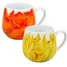 Poppy and Sunflower Blossoms Snuggle 12 oz. Mugs (Set of 2)