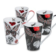 Dragonfly and Butterfly 13 oz. Mugs 4 Piece Set