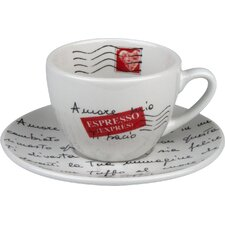 Coffee Bar Amore Mio 7 oz. Cup and Saucer (Set of 4)