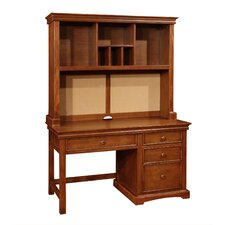 Cambridge Wood Pedestal Desk with Hutch and 4 Drawers