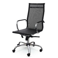 High-Back Mesh and Leather Executive Office Chair