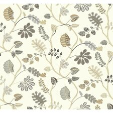 """Waverly Small Prints a New Leaf 27' x 27"""" Floral and Botanical Wallpaper"""