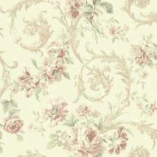 "Shimmering Topaz 33' x 20.5"" Rococco Floral Wallpaper"
