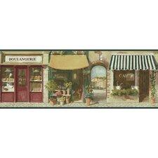 "Paris Street Scene 15' x 9"" Figural Border Wallpaper"